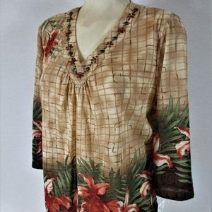 ALFRED DUNNER womens Sz PL tan BEADED top (B6)E2